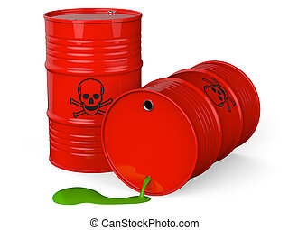 Toxic waste - Spilled red barrels with toxic waste isolated...