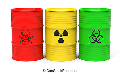 Toxic waste - Different barrels with toxic waste isolated on...