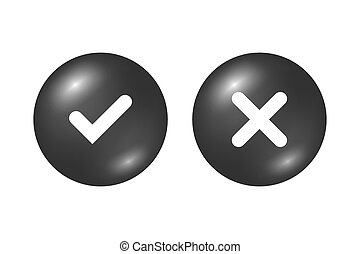 Tick cross signs set - Tick and cross black signs. Gray...