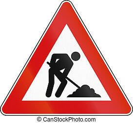 Road sign used in Spain - Roadworks