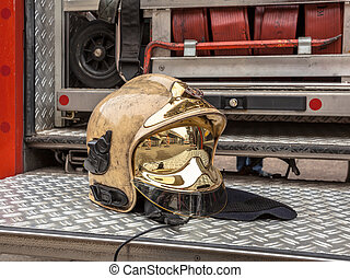 Golden Fire Brigade Helmet and Other Inventory of a Fire...