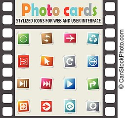 arrow icon set - arrow web icons on color photo cards for...