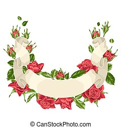 Decorative ribbon with red roses. Beautiful realistic...
