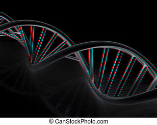 DNA structure model. 3d illustration. Anaglyph. View with...