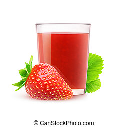 Isolated strawberry juice. Glass of fresh strawberry drink...