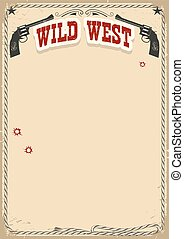 Wild West poster background with revolvers and text on old...