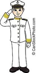 captain - The captain in a white uniform salutes.