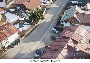 Aerial view of small town in Europe