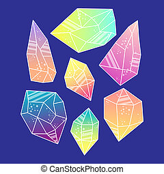 Magic crystals of pyramidal shape. Set Tribal precious...