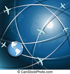 Aviation - Illustration, plane on blue globe on white...