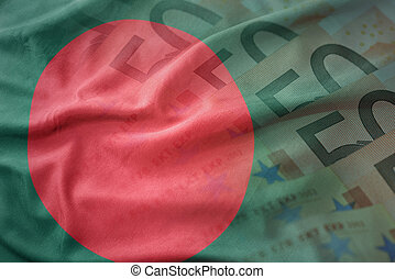 colorful waving national flag of bangladesh on a euro money banknotes background. finance concept