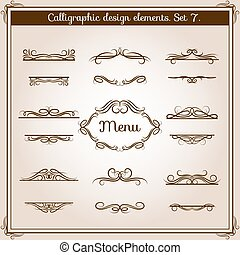 Ornamental design antique elements for text. Vector graphic vintage floral calligraphic border lines