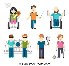 Disabled sports vector illustration. Handicapped people in sport