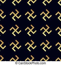 Swastika seamless pattern. Rotating cross, an ancient...