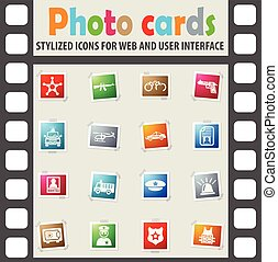 police icon set - police web icons on color photo cards for...
