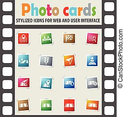 road icon set - road web icons on color photo cards for user...