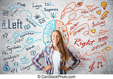 Creative and analytical thinking concept - Cheerful young...