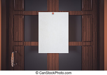 Pinned paper sheet - Blank white paper sheet pinned to...