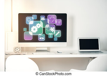 Workplace with digital icons - Workplace with abstract...