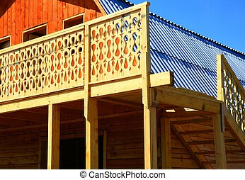 Log cabin under construction Side view Nobody