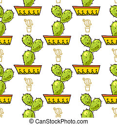 Seamless pattern of cacti and succulents in pots. In the...