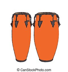 Isolated conga drums - Isolated pair of conga drums, Vector...