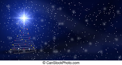 Christmas tree over blue with snowfall