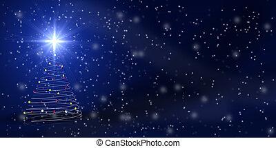 Christmas tree over blue with snowfall