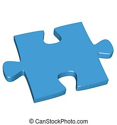 3D puzzle piece blue - three dimensional puzzle piece...