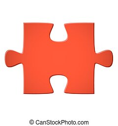 Puzzle piece red - Puzzle piece colored red for connection...