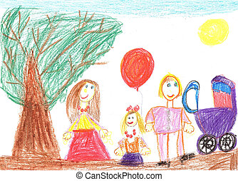Happy family with a baby carriage - Child drawing. Happy...