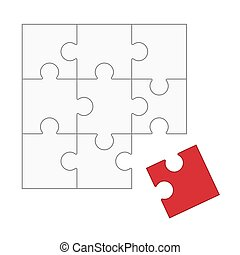 Puzzle - does not fit! - white puzzle with one red part not...