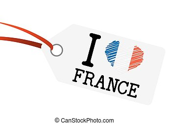 hangtag with text I LOVE FRANCE - white hang tag with text I...