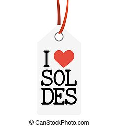 hangtag with text I LOVE SALE (in french) - white hang tag...