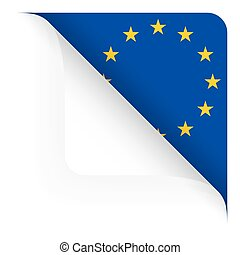 top corner turned off with country flag of EU - top corner...