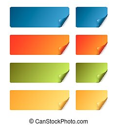Sticker set with curved corner - colored - colored Sticker...