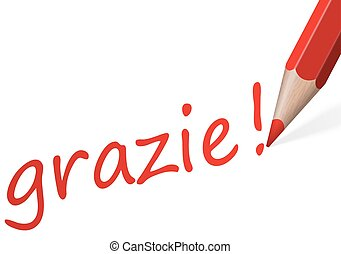 Pen with text grazie! - red pen writing text thank you (in...