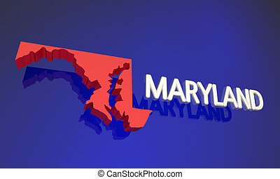 Maryland MD Red State Map Name 3d Illustration