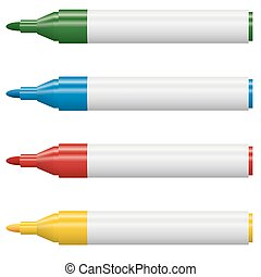 Highlighters opened - 4 colors - four opened high lighters...