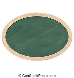Blackboard slate green - oval black board with brown frame...