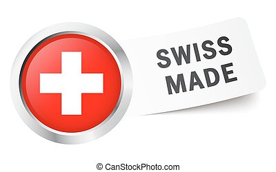 Button with flag SWISS MADE - round button with swiss flag...