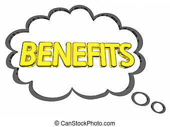 Benefits Thought Cloud Features Compensation Word 3d...