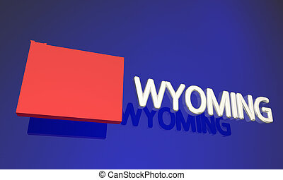 Wyoming WY Red State Map Name 3d Illustration