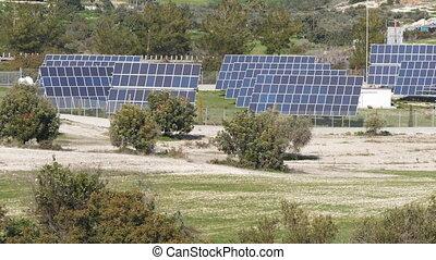 Solar farm panels green energy concept