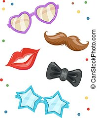 Glasses, moustache, lip, bow-tie. Masks for birthday party.