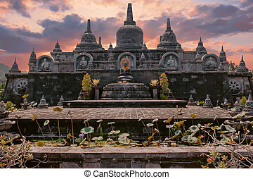 Temple Brahma Vihara Arama Banjar Bali, Indonesia at sunset
