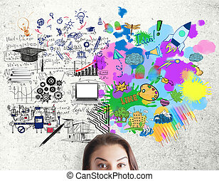 Creative and analytical thinking concept. Portrait of...