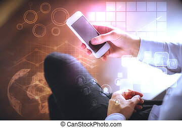 Technology concept - Male hands using smartphone with...