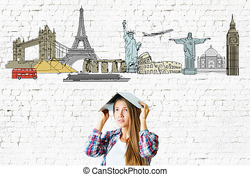 Tourism concept - Young woman with travel sketch on textured...