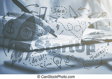 Entrepreneurship concept - Side view and close up of female...